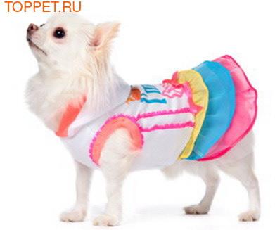 ForMyDogs Платье для собак с капюшоном белое с разноцветной юбочкой, размер 12 (фото, вид 1)