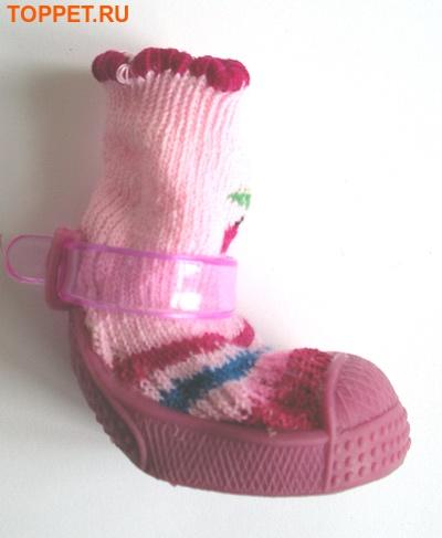 Ботиночки-носочки для собак на резиновой подошве, розовый, №4 (фото, вид 1)