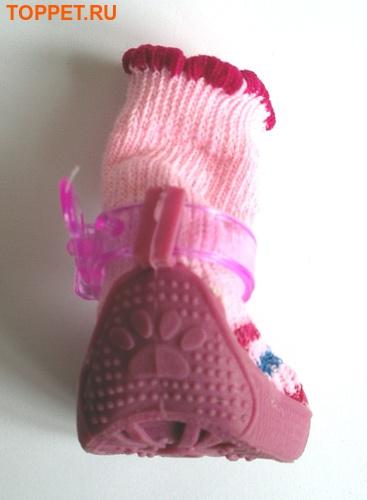 Ботиночки-носочки для собак на резиновой подошве, розовый, №4 (фото, вид 2)