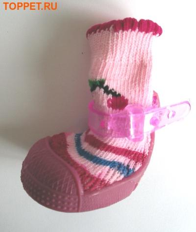 Ботиночки-носочки для собак на резиновой подошве, розовый, №4 (фото, вид 3)