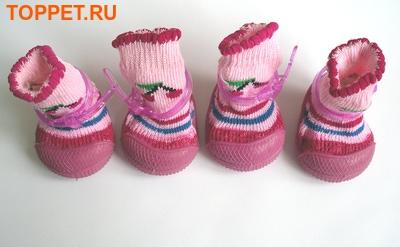 Ботиночки-носочки для собак на резиновой подошве, розовый, №4 (фото, вид 4)