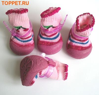 Ботиночки-носочки для собак на резиновой подошве, розовый, №4 (фото, вид 5)