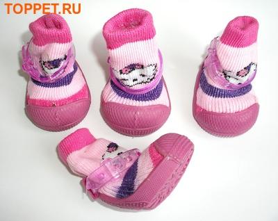 Ботиночки-носочки для собак на резиновой подошве, розовый, №4 (фото, вид 6)