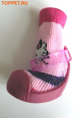 Ботиночки-носочки для собак на резиновой подошве, розовый, №4 (фото, вид 7)