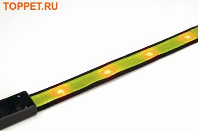 Beeztees Ошейник светоотражающий с лампочками желтый 30-40см*20мм (фото, вид 3)