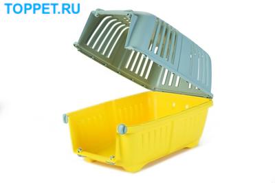 Beeztees Переноска Pratiko серо-желтая 48*31*33см (фото, вид 1)