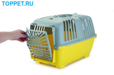 Beeztees Переноска Pratiko серо-желтая 48*31*33см (фото, вид 2)