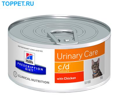 HILL'S Консервы PD Feline c/d Multicare Minced with Chicken Для кошек, курица, уролитиаз, 156г (фото, вид 1)