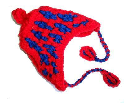 Шапочка для собак красно/синяя вязанная, размер М (фото, вид 1)