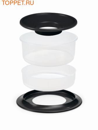 Beeztees Миска Picnic 2в1 для корма и воды, пластиковая антрацитовая 22*12см (фото, вид 1)