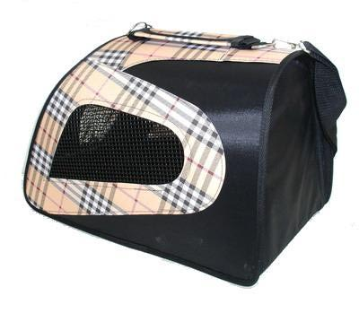 DOGMAN Сумка для собак и кошек Фантазия черная/ бежевая шотландка №2 (фото, вид 2)