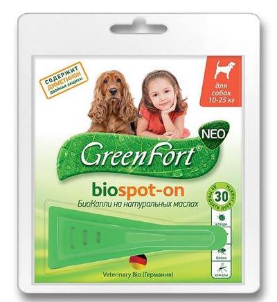Грин Форт БиоКапли G202 от блох и клещей для собак средних пород 1 пипетка по 1,5мл (фото, вид 1)