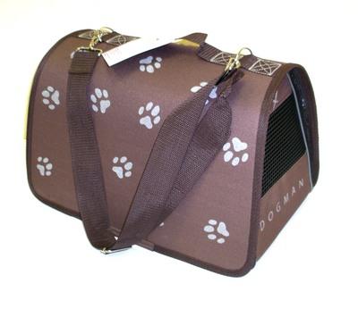 DOGMAN Сумка -переноска для собак Лира №2 Лапки, коричневая, 39х25х26см (фото, вид 1)