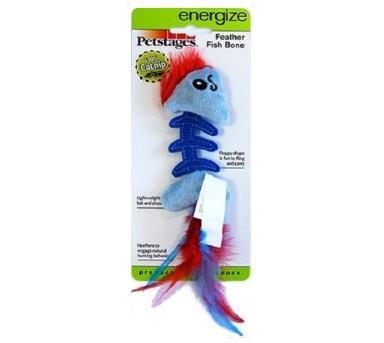 Petstages Игрушка для кошек Play Fish Bone голубая, 11х4х2см (фото, вид 1)