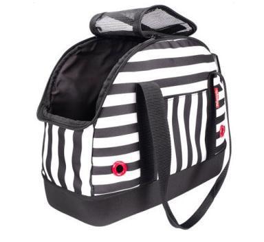 IBBI Мягкая сумка-переноска для собак 40х18х32 см черно-белая полоска (фото, вид 1)