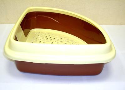 DOGMAN Туалет для кошек Триплекс угловой, 40х40х15см (фото, вид 1)