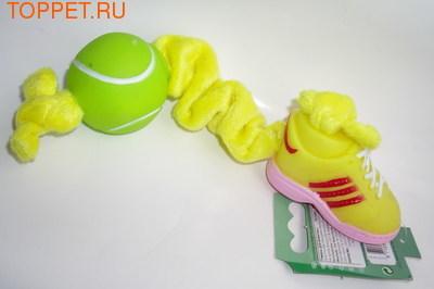 Beeztees Игрушка для собак/щенков Эластичная плюшевая веревочка с мячиком и ботинком, 27см (фото, вид 1)