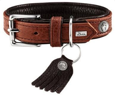 Hunter Ошейник для собак Cody 55 (42-48 см)/3,5 кожа бизона коньячный/темно коричневый (фото, вид 1)