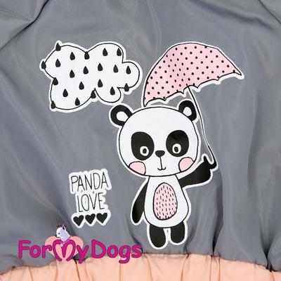 """ForMyDogs Дождевик для собак """"Панда"""" серый, модель для девочек, размер 18 (фото, вид 1)"""