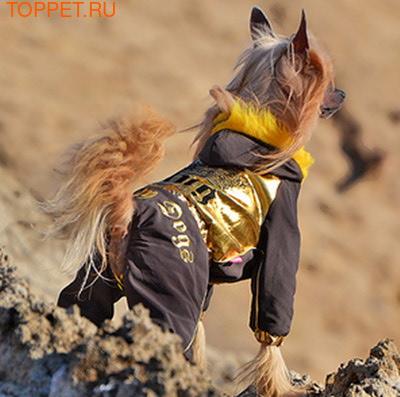 ForMyDogs Комбинезон зимний на подкладке из мягкого меха, цвет коричневый/золото, модель для мальчиков, размер 8 (фото, вид 2)