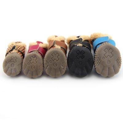 Al1 Сапожки для собак теплые с мехом черные на резиновой подошве, размер №1, №2 (фото, вид 1)
