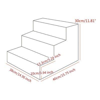 Al1 Лестница - ступеньки для собак, серая, 3 ступени, размер 40x38x30 см (фото, вид 1)