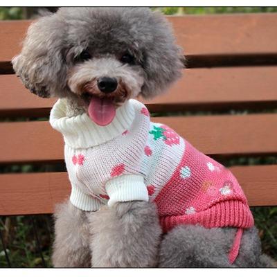 """Al1 Свитер для собак трикотажный """"Клубничка"""", размер №8, белый/красный (фото, вид 1)"""