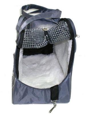 DOGMAN Сумка -переноска для собак модельная №7М с мехом, серая/кристаллы, 40х19х25см. (фото, вид 2)