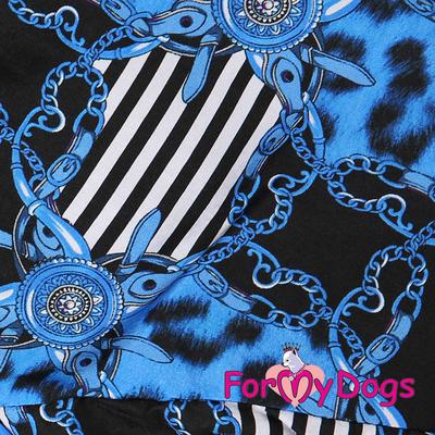 """ForMyDogs Комбинезон для больших собак """"Цепи"""" черно/синий, модель для мальчиков, размер С2 (фото, вид 1)"""