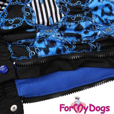 """ForMyDogs Комбинезон для больших собак """"Цепи"""" черно/синий, модель для мальчиков, размер С2 (фото, вид 2)"""