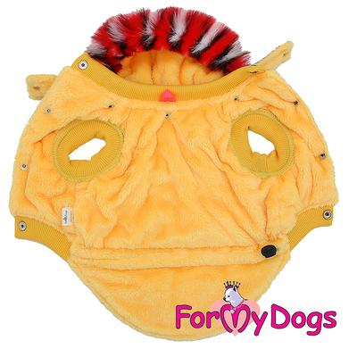 """ForMyDogs Теплая курточка для собак """"Снегири"""", серо/желтая, размер 16 (фото, вид 1)"""