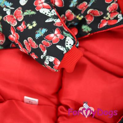 """ForMyDogs Комбинезон для собак """"Бабочки"""", черно/красный, размер №14, №20 модель для девочек (фото, вид 1)"""