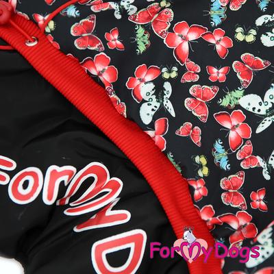 """ForMyDogs Комбинезон для собак """"Бабочки"""", черно/красный, размер №14, №20 модель для девочек (фото, вид 3)"""