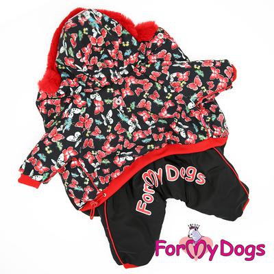 """ForMyDogs Комбинезон для собак """"Бабочки"""", черно/красный, размер №14, №20 модель для девочек (фото, вид 4)"""
