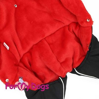 ForMyDogs Комбинезон для маленьких собак красный орнамент/черный, размер №8, модель для девочек (фото, вид 1)