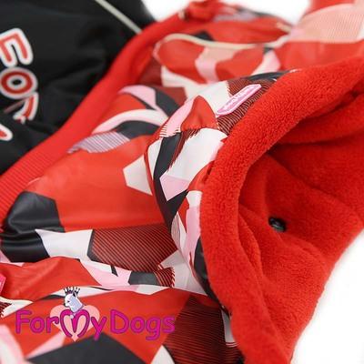 ForMyDogs Комбинезон для маленьких собак красный орнамент/черный, размер №8, модель для девочек (фото, вид 2)