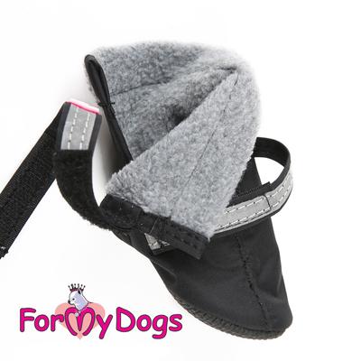 ForMyDogs Сапоги для собак из нейлона на флисе, цвет черный, размер №1, №2 (фото, вид 1)