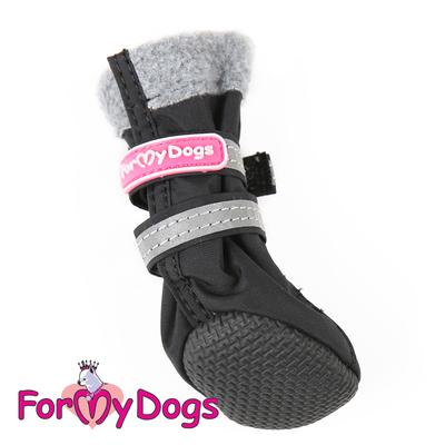 ForMyDogs Сапоги для собак из нейлона на флисе, цвет черный, размер №1, №2 (фото, вид 2)
