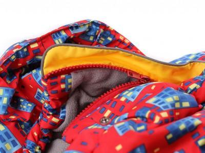 ZooPrestige Комбинезон зимний для французского бульдога, на флисе, сине/красный, размер ФР2, спина 42-44см (фото, вид 1)