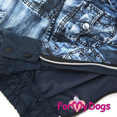 """ForMyDogs Дождевик для крупных собак """"Джинса"""" синий, модель для мальчиков, размер C2, D1 (фото, вид 1)"""
