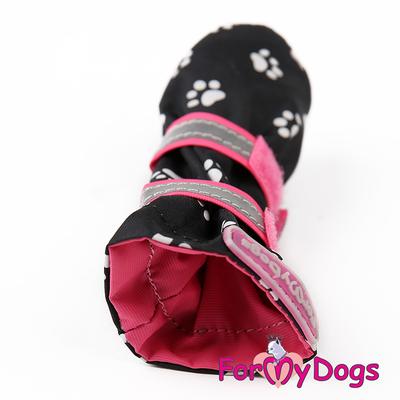"""ForMyDogs Сапоги для собак """"Лапки"""", цвет черный/розовый, размер №1, №2 (фото, вид 2)"""