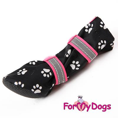 """ForMyDogs Сапоги для собак """"Лапки"""", цвет черный/розовый, размер №1, №2 (фото, вид 3)"""