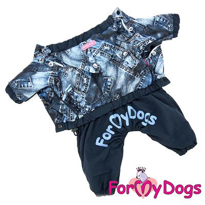 """ForMyDogs Дождевик для собак """"Джинса"""" синий, модель для мальчиков, размер №10, №18 (фото, вид 1)"""