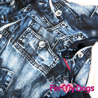"""ForMyDogs Дождевик для собак """"Джинса"""" синий, модель для мальчиков, размер №10, №18 (фото, вид 3)"""