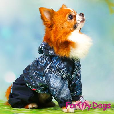 """ForMyDogs Дождевик для собак """"Джинса"""" синий, модель для мальчиков, размер №10, №18 (фото, вид 4)"""