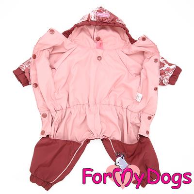 """ForMyDogs Дождевик для собак """"Цветы"""" бордо, модель для девочек, размер 18, 20 (фото, вид 1)"""