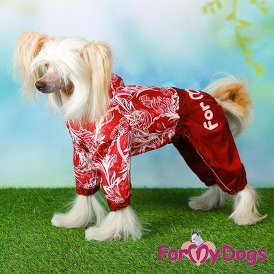 """ForMyDogs Дождевик для собак """"Цветы"""" бордо, модель для девочек, размер №18, №20 (фото, вид 2)"""