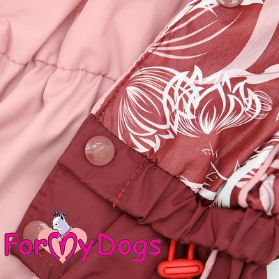 """ForMyDogs Дождевик для собак """"Цветы"""" бордо, модель для девочек, размер 18, 20 (фото, вид 3)"""
