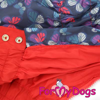 """ForMyDogs Дождевик для собак """"Бабочки""""синий/красный, модель для девочек, размер 14 (фото, вид 1)"""