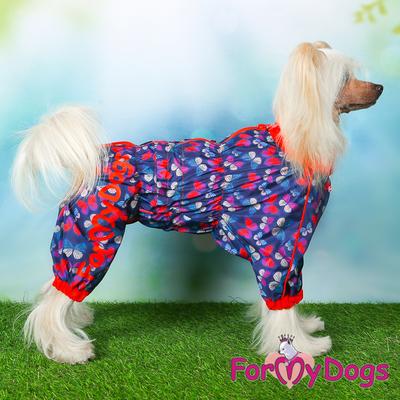 """ForMyDogs Дождевик для собак """"Бабочки""""синий/красный, модель для девочек, размер 14 (фото, вид 2)"""